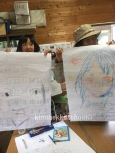 素敵な似顔絵。お互いに似顔絵を描いた相手に贈呈式が行われてました。