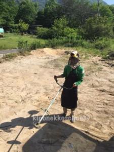 たみ初の草刈機に挑戦